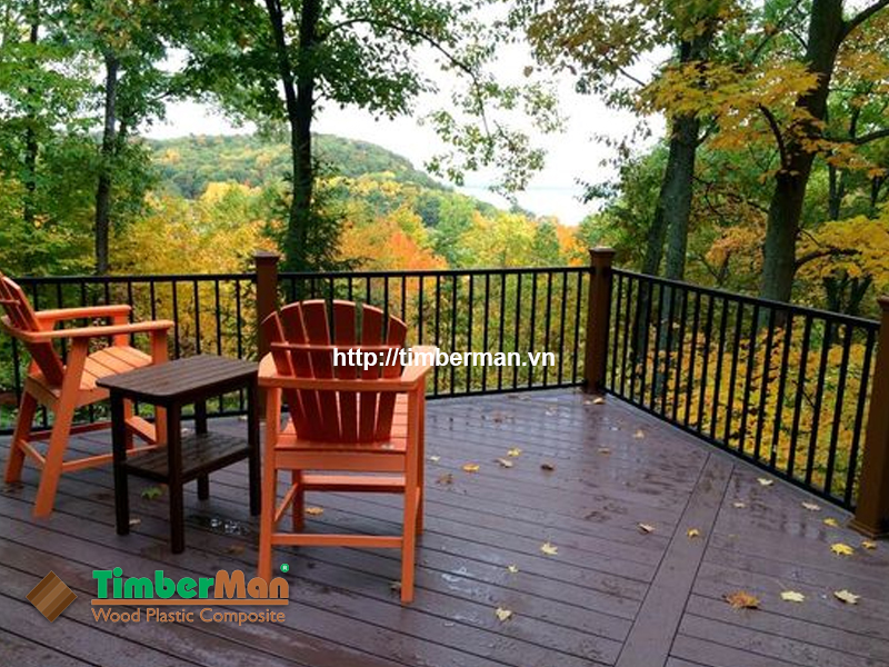 Bàn ghế gỗ nhựa ngoài trời mang lại vẻ đẹp sang trọng cho không gian ngoại thất