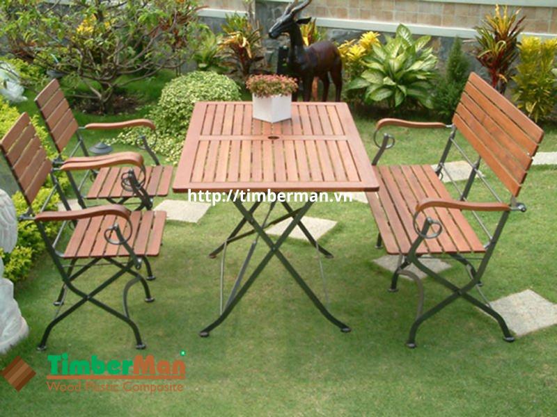 Bàn ghế gỗ nhựa ngoài trời có nhiều ưu điểm nổi bật