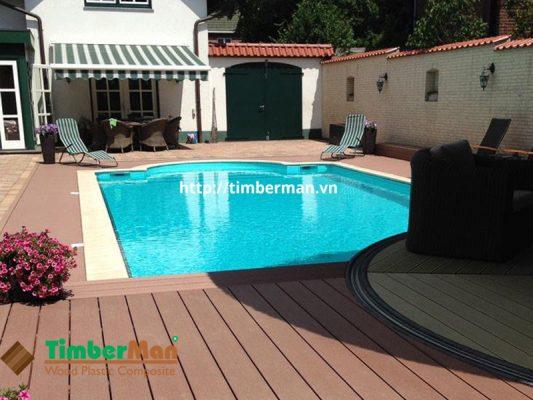 Sàn gỗ đẹp cho bể bơi gia đình