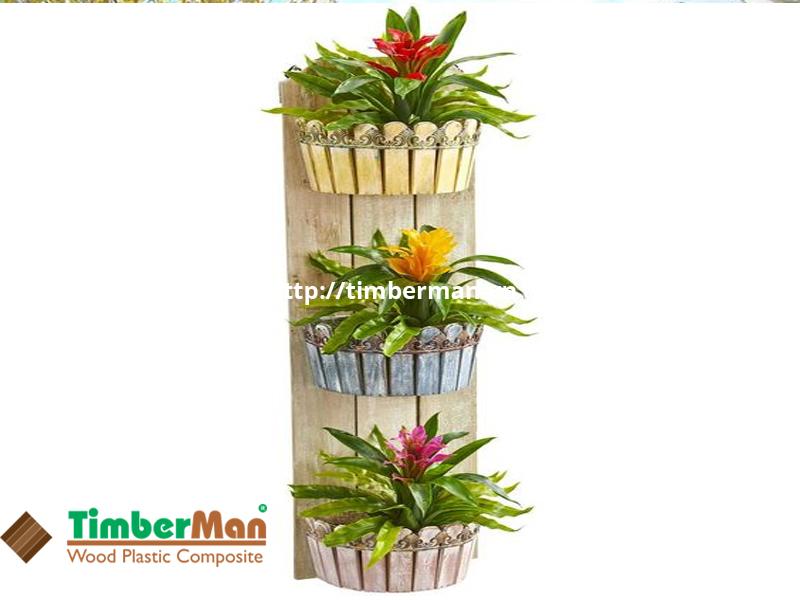 Chậu hoa gỗ nhựa có độ bền cao, phù hợp lắp đặt mọi không gian ngoại thất