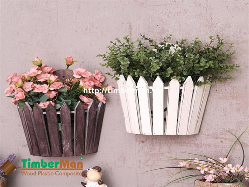 Chậu hoa gỗ nhựa ngoài trời làm đẹp ban công nhỏ xinh