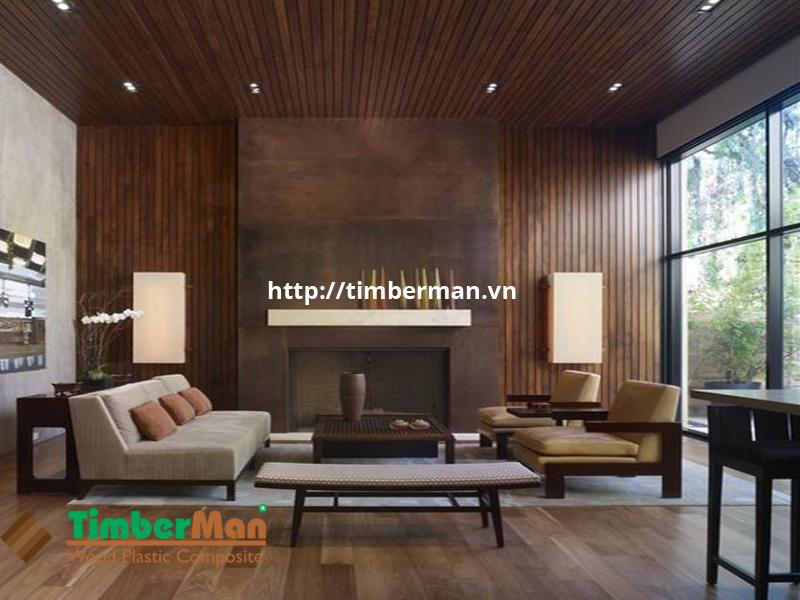 Không gian đồng nhất với trần, sàn và tường ốp gỗ công nghiệp