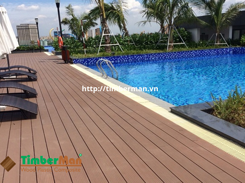 Sàn gỗ TecWood lắp đặt hồ bơi đẹp ấn tượng