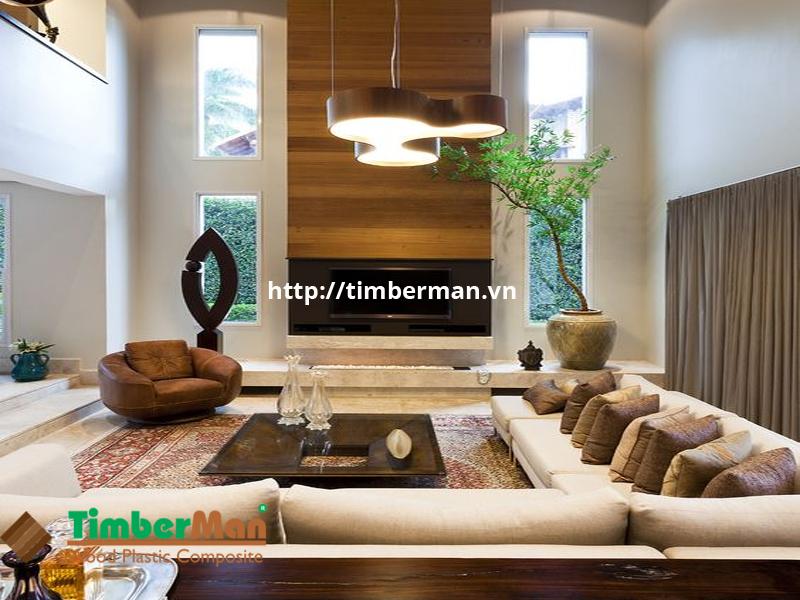 Mảng tường ốp gỗ công nghiệp tạo điểm khác biệt cho phòng khách hiện đại