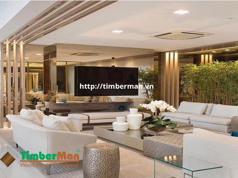 Phòng khách sang trọng hiện đại với những thanh ốp tường tạo điểm nhấn
